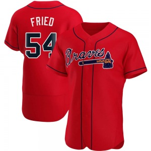 Men's Atlanta Braves Max Fried Authentic Red Alternate Jersey
