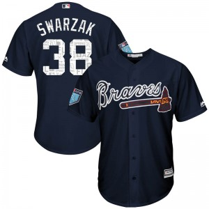 Youth Majestic Atlanta Braves Anthony Swarzak Replica Navy Cool Base 2018 Spring Training Jersey