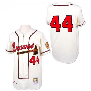 Men's Mitchell and Ness Atlanta Braves Hank Aaron Authentic White Throwback Jersey